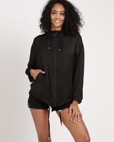Legit Hooded Satin Bomber Jacket Black