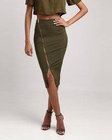 Legit Diagonal Gold Zip Skirt Fatigue