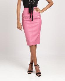 Legit PU Zip Detail Skirt Rose