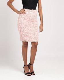 Legit Fringe Skirt Blush