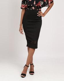 Legit Mesh Inset Pencil Skirt Black