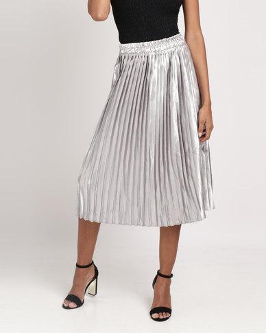 0bdde0266b59 Legit Metallic Pleated Skirt Silver | Zando
