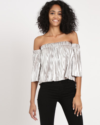 e4e59b75e251 Legit Off The Shoulder Frill Border Top Silver