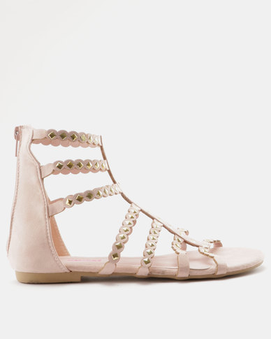 dbb6babe4688 Legit Gladiator Multi Strap With Metal Trims Sandals Blush