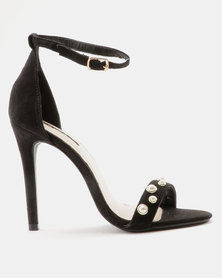 Legit Heeled Sandal With Pearl Trim Black