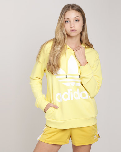 adidas Ladies Trefoil Adicolour Hoodie Intense Lemon/White