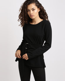 Utopia Casual Top with Ring Belt Black