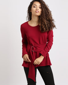 Utopia Casual Top with Ring Belt Red