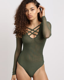 Utopia Mesh Criss Cross Bodysuit  Forest Green