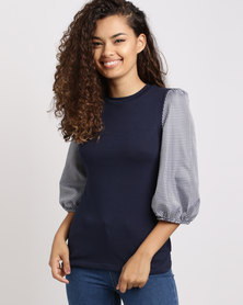 Utopia Knit Top with Gingham Sleeve Navy