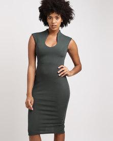 Utopia High Neck Ponti Bodycon Dress Green