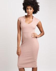 Utopia High Neck Ponti Bodycon Dress Blush Pink