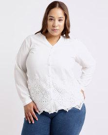 Queenspark Plus Lace Onlaid Woven Shirt Cream