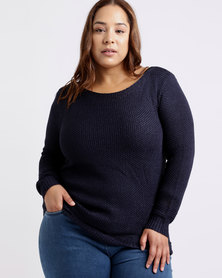 Queenspark Plus Scallop Edge Knitwear Top Navy