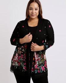 Queenspark Plus Printed Border Mesh Knit Jacket Black