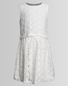 London Hub Fashion Crochet Dress White