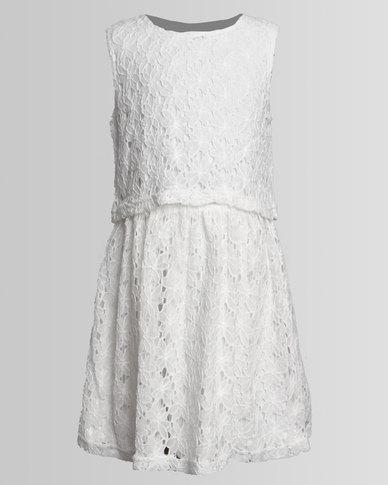 London Hub Fashion Crochet Dress White