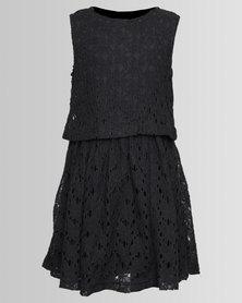 London Hub Fashion Crochet Dress Charcoal