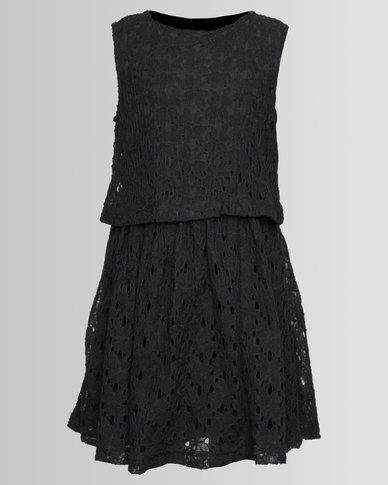 London Hub Fashion Crochet Dress Charcoal