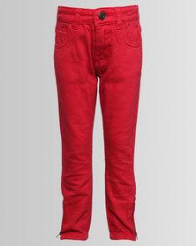 London Hub Fashion Denim Jeans Red