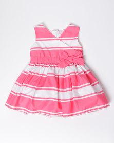 London Hub Fashion Striped Dress Pink