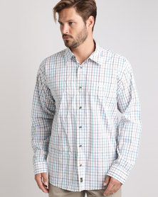 Jeep Long Sleeve Check Shirt White/Turq