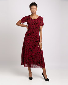 Queenspark Heart Design Fit & Flare Knit Dress Red