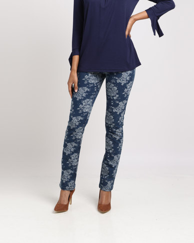 Queenspark Floral Printed Woven Denim Indigo