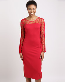 Queenspark Fit & Flare Knit Dress Red