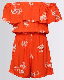 New Look Bubble Daisy Frill Bardot Orange
