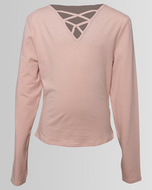 New Look Double Lattice Front Long Sleeve Top Nude