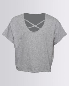 New Look Lattice Loose MTJ Tee Mid Grey