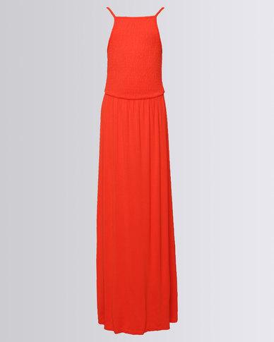 1421737b7a2 New Look Plain Jersey Shirred Maxi Dress Red