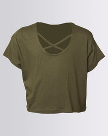 New Look Lattice Loose MTJ Tee Dark Khaki