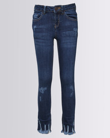 New Look Lala Ripped Fray Hem Jeans Navy