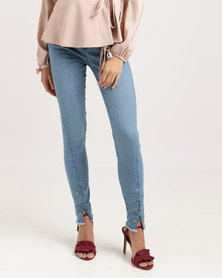 Sissy Boy Axel Mid-rise With Eyelet Detail at Hem Skinny Jeans Blue
