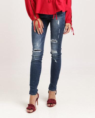 Sissy Boy Axel Mid-rise Skinny Jeans Dark Blue