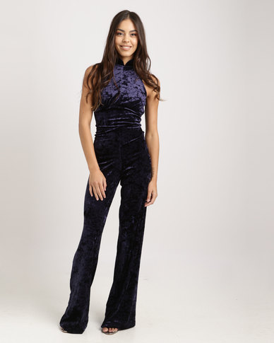 Sissy Boy Velvet Back Detail Jumpsuit Blue