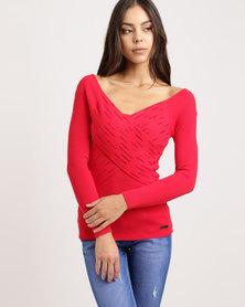 Sissy Boy Assymetric Bling Knitwear Top Red