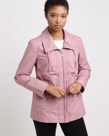 Queenspark Zip Through Woven Cotton Parka Jacket Pink