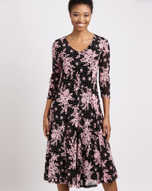 Queenspark Spot Flower Mesh Knit Dress Black