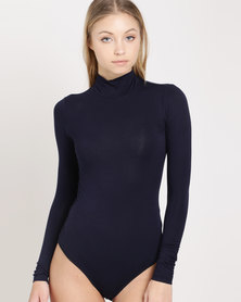 Paige Smith Poloneck Bodysuit Navy