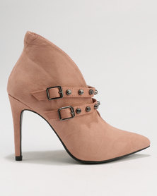 Utopia Double Strap Pointy Boots Nude