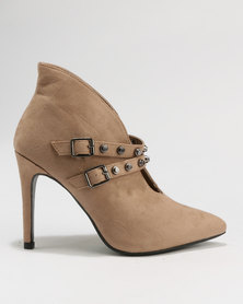 Utopia Double Strap Pointy Boots Neutrals