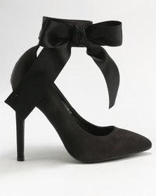 Utopia Satin Pointy Court Shoes Black