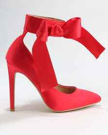 Utopia Satin Pointy Court Shoes Red