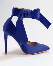 Utopia Satin Pointy Court Shoes Blue