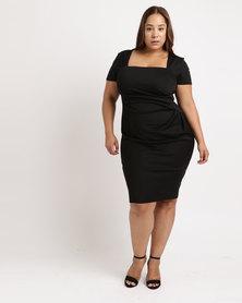 City Goddess London Plus Size Square Neckline Pleated Midi Dress Black