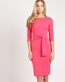 City Goddess London Pencil Dress With Tie Detail Pink