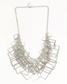 Ruby Rocks Square Detail Statement Necklace Silver-Tone